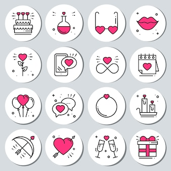 St valentine's day stickers set. labels badges.