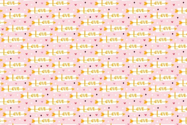 聖バレンタインの休日愛のクリップアート愛のレタリングとキューピッド矢印関係感情情熱パターンテクスチャ紙パッケージデザイン