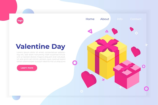 St valintane day isometric concept with big present gift box and pink hearts