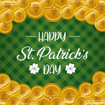 コインと緑の幸せなstパトリックの日グリーティングカード