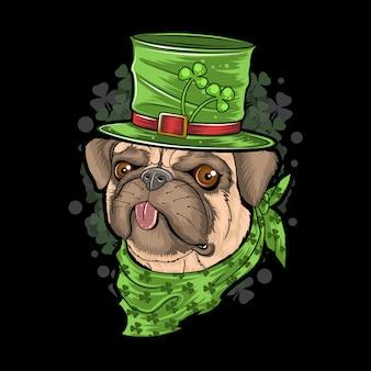 St。パトリックの日パグ子犬犬アートワーク