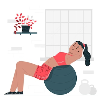 Stability ball concept illustration