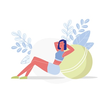 Stability ball crunches flat vector illustration
