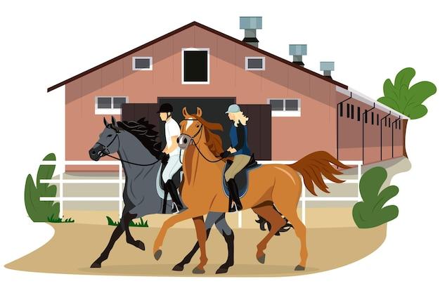 Конюшня мужчина и женщина катаются на лошадях реалистичное изображение верховая езда уроки верховой езды