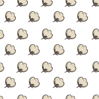 ボール、ふわふわの綿植物の背景またはプリントで成長する安定した繊維。繊維や衣類の製造に使用される滑らかな乾燥製品。高品質の有機成分。シームレスなパターン、フラットスタイルのベクトル