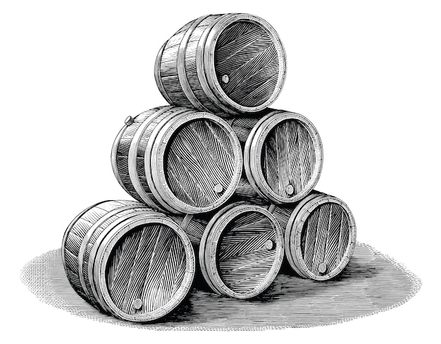 Stack of beer barrel hand drawn vintage engraving style black and white clip art isolated on white background