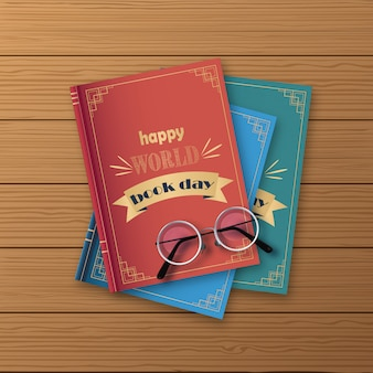 Stack of books, happy world day on a wood background