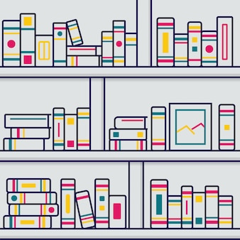 Stack books illustration in thin line