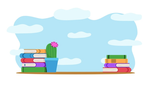 Stack of books isolated vector illustration academic knowledge symbols