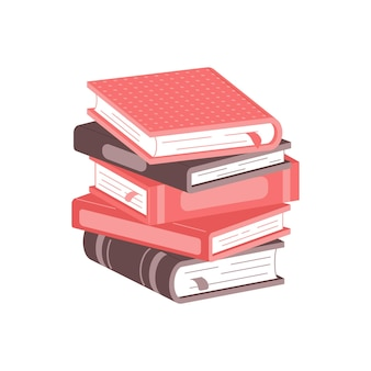 Stack of books on a white background pile of books vector illustration