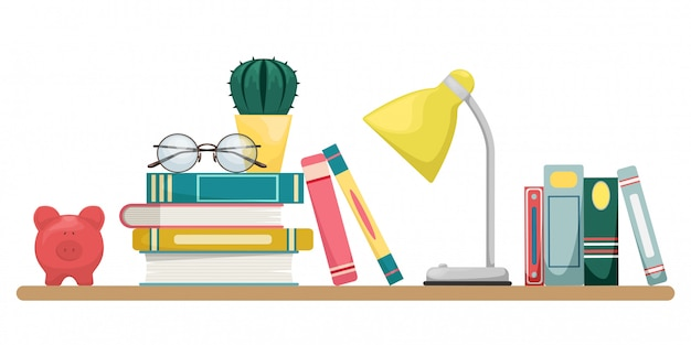 Stack of books with a lamp, glasses and cactus. knowledge, learning and education concept design.