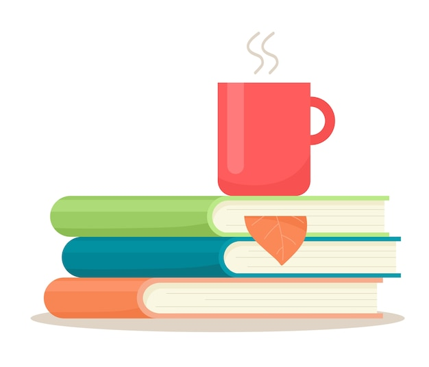 A stack of books with a mug of drink and an autumn leaf in a bookmark.  illustration in flat style.