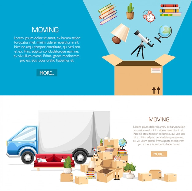 Stack of boxes wiht transport vehicle. cardboard boxes with objects. packing in a box. moving house concept.  illustration on white and blue background. web site page and mobile app