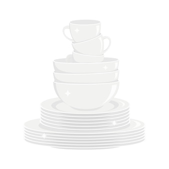 Stack of clean shining white dishes washed dishware kitchen tableware
