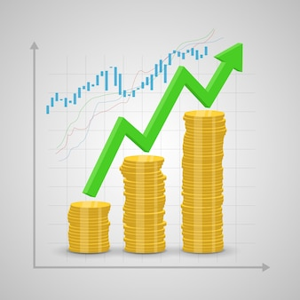 Stack of coins rising and arrow graph