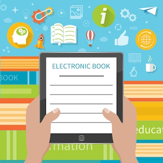Stack of colorful books with electronic book reader at book store. hands holding e-book cartoon