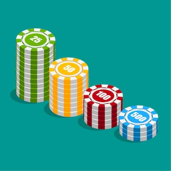 Stack of different colors casino chips. poker chip heap. isometric design.