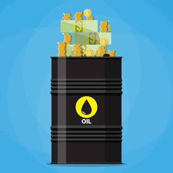 Stack of dollars and coins on oil barrel