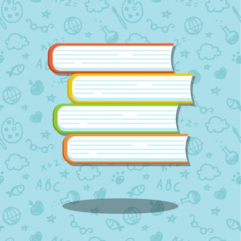 Stack of four books on blue background with seamless psttern. . illustrations for education and school.