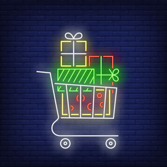 Stack of gifts in cart in neon style