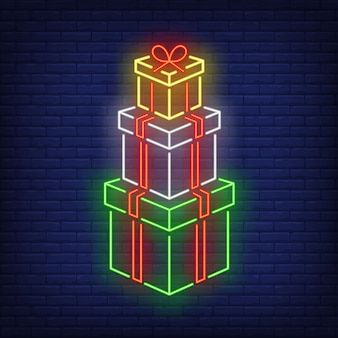 Stack of gifts in neon style