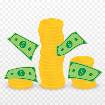 Stack of gold coins png money png coins