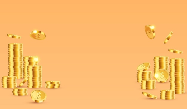 Stack of gold dollar coins concept background