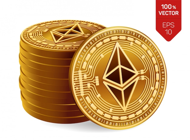 Stack of golden coins with ethereum symbol isolated on white background.