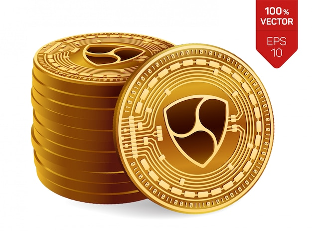 Stack of golden coins with nem symbol isolated