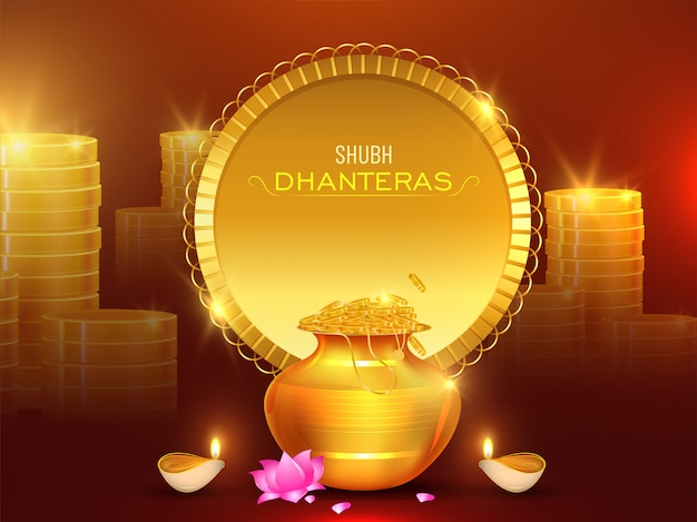 Stack of golden coins with wealth pot, lotus flower and illuminated oil lamp (diya) for shubh dhanteras celebration concept.