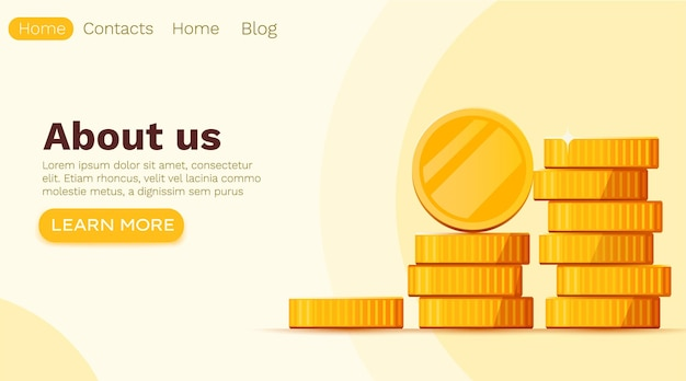 Stack of golden dollar coins isolated on white. landing page template.