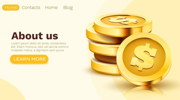 Stack of golden dollar coins isolated on white. landing page template