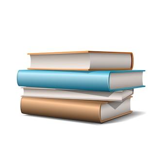 Стопка бежевых и синих пастельных книг. книги различных цветов, изолированные на белом фоне. иллюстрация