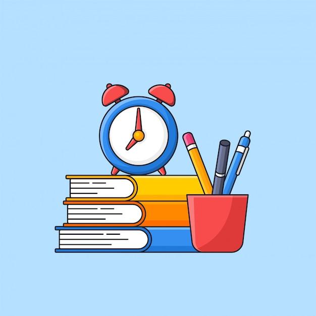 上部に目覚まし時計が付いている本のスタックと完全なガラス学習ツールのフラットなデザインに戻る学校のシンプルな最小限のイラスト