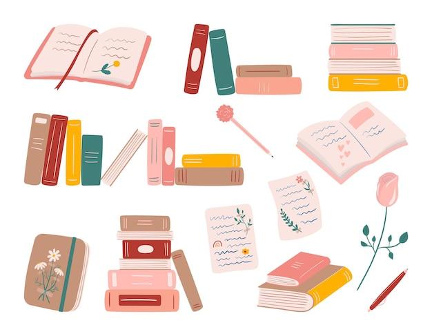 本の日記とビンテージノートブックベクトルセットのスタック