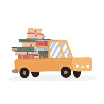 オンラインストアからのオンライン書店の本の山のためのかわいいトラック配達コンセプトの本のスタック...
