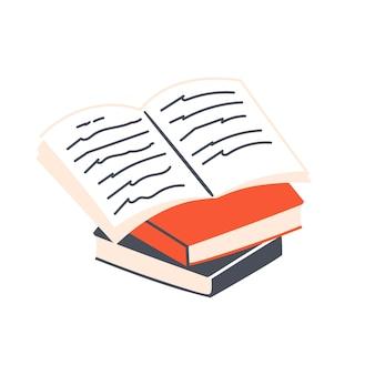책의 스택입니다. 공부 및 교육 개념입니다. 학습 및 쓰기. 평면 벡터 일러스트 레이 션.
