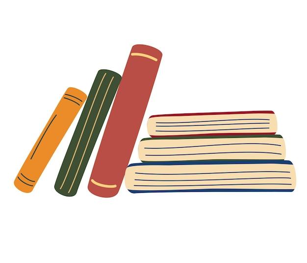 本の山。縦と横の本。世界図書の日。教育。学校のアーカイブ
