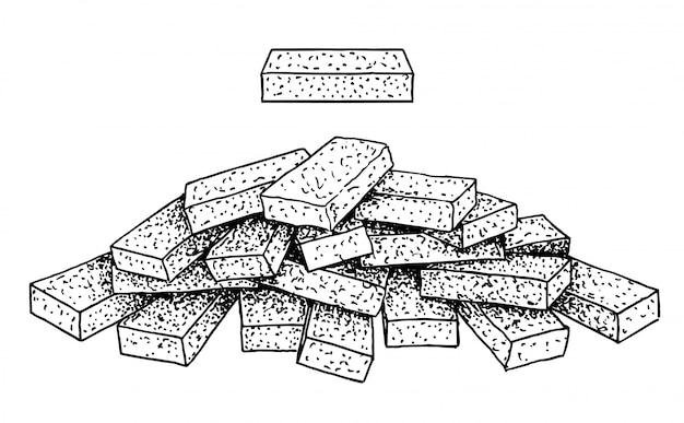 벽돌 스케치의 스택입니다. 흰색 배경에 느슨한 벽돌의 그룹입니다.