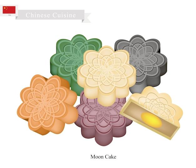 중순가 축제에 대 한 중국 문 케이크의 스택