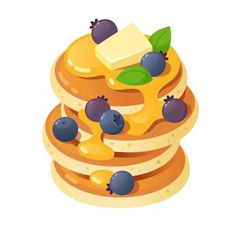 꿀, 블루 베리와 클래식 팬케이크의 스택. 격리 된 그림
