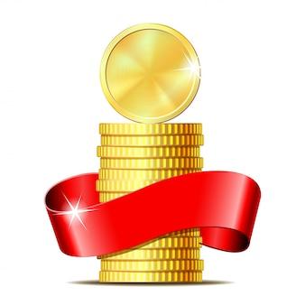 赤いリボンとコインのスタック。