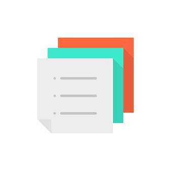 カラーメモのやることリストのスタック。ワークフローの概念、投票、メールui、メニュー、ドキュメントテンプレート、通知、スケジュール、投稿。フラットスタイルのトレンドモダンなロゴグラフィックデザイン白い背景の上のベクトル図