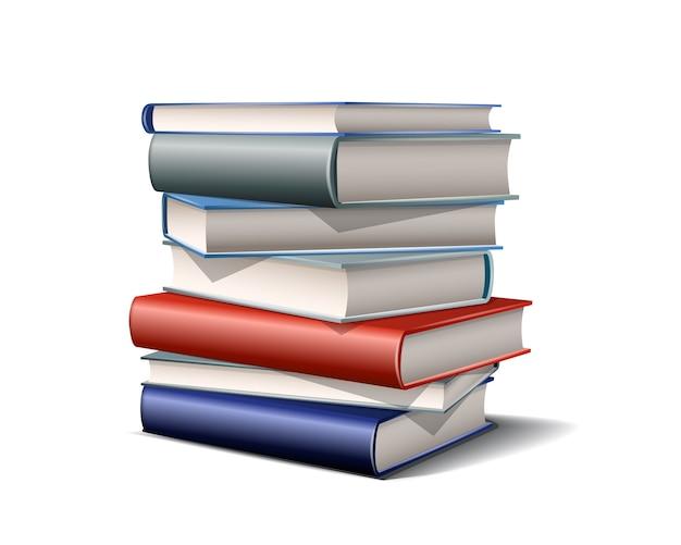 カラフルな本のスタック。白い背景にさまざまな色を予約します。図