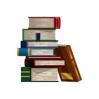 白地にカラフルな本のスタック。教育本ベクトルの山。フラットスタイルのイラスト。知識の概念。本を通して読書、学習、教育を受ける