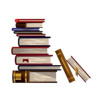 다채로운도 서의 스택입니다. 교육도 서 벡터의 더미입니다. 플랫 스타일의 일러스트입니다. 지식 개념. 책을 통한 읽기, 학습 및 교육 받기