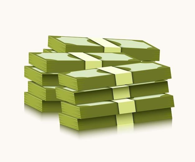白い背景の上のドルのスタック。お金と経済学の概念。