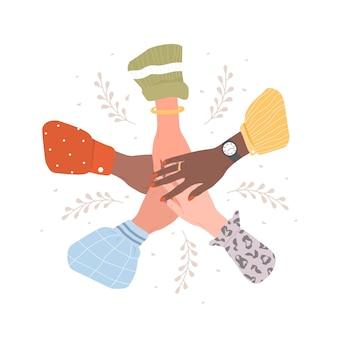 Стек женских рук. концепция единства и совместной работы.