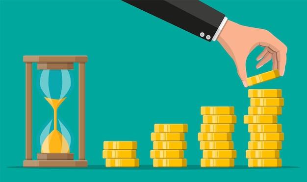 Стек золотых монет и песочные часы. рентабельность инвестиций, график увеличения золотых монет. рост, доход, сбережения, инвестиции. символ богатства. успех в бизнесе. плоский стиль векторные иллюстрации.