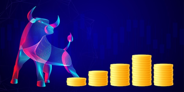 황소의 추상 실루엣과 황금 동전의 스택. 비즈니스 투자, 거래 및 저축 개념. 강세 시장에서 금융 성장과 배당금의 벡터 네온 라인 아트 그림 프리미엄 벡터